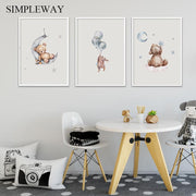 Child Poster Baby Nursery Wall Art Print Bear Bunny Woodland Animal Canvas Painting Picture Nordic Kids Baby Bedroom Decoration