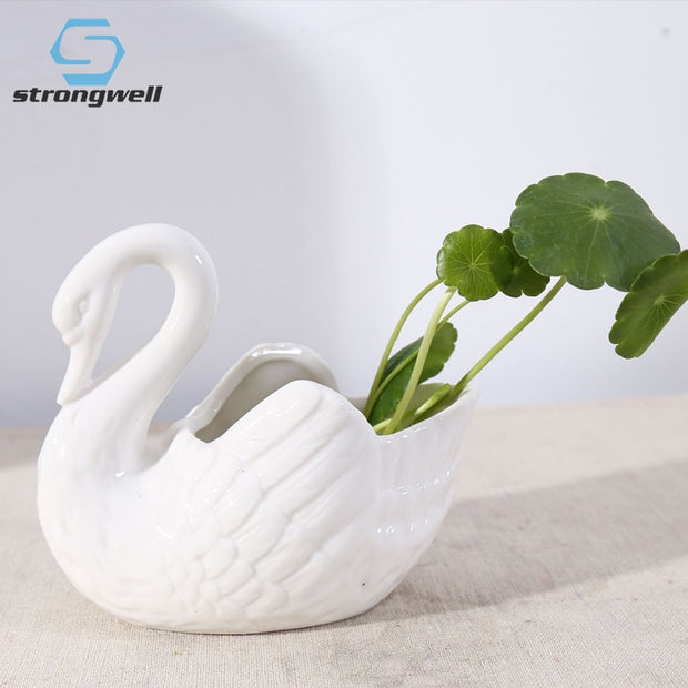 Strongwell White Swan Ceramic Flower Pot Small Candlestick Photography Props Wedding Gifts Storage Home Decoration Birthday Gift