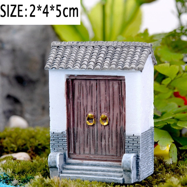 Mini Lighthouse Water Well Bridge Figurines Miniature Craft Fairy Garden Gnome Moss Terrarium Gift DIY Ornament Garden Decor