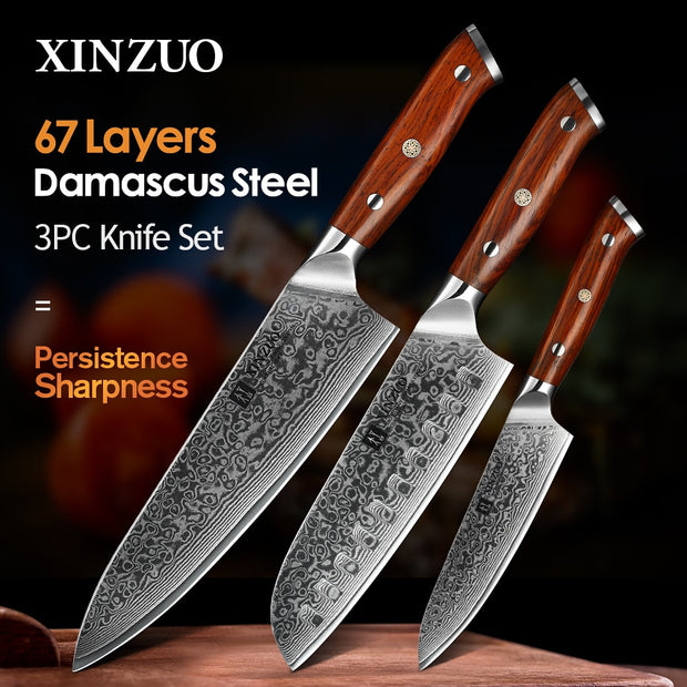 XINZUO 3PCS Pro Kitchen Knife Sets Japanese forged Damascus Steel Chef Santoku Knives Stainless Steel Rosewood Handle knife Chef