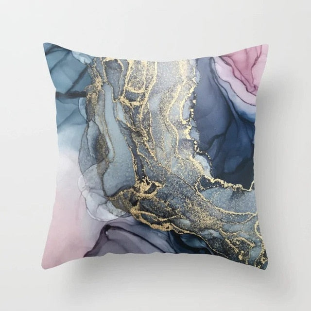 Golden Marble Geometric Decorative Cushion