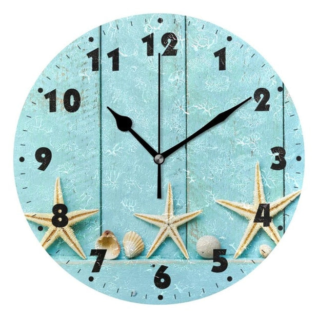 Marine Seashells Round Wall Clock Quiet Battery Operated Living Room Wall Watch Silent Non Ticking Desk Starfish Wall Clocks Art
