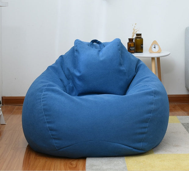 Lazy Sofa Cover Chairs without Filler Linen Cloth Lounger Seat Bean Bag Pouf Puff Couch Tatami