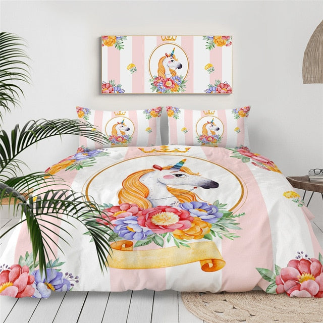 BeddingOutlet Cartoon Unicorn Kids Bedding Set King Rose Floral Duvet Cover Girly Home Textiles Purple Bedclothes 3pcs Drop Ship