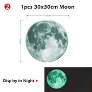Luminous moon and stars wall stickers for kids