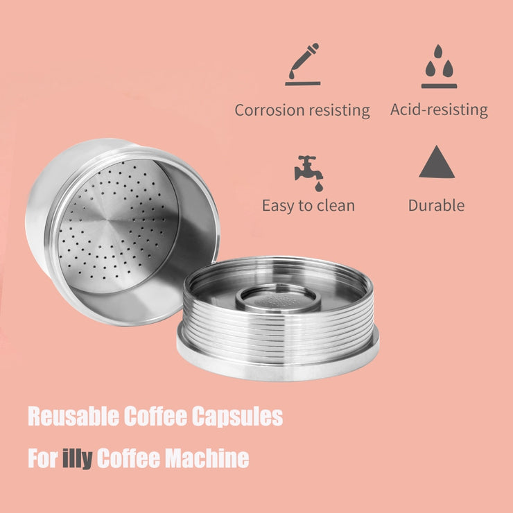 iCafilas Coffee Filters For illy Coffee Capsule Pods Stainless Steel Reusable For illy Coffee Filters Cup Dripper Tamper