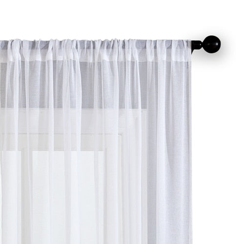 Solid Color Cheap Sheer Curtains for Living Room Bedroom Kitchen Door Window Modern Linen Household White Voile Tulle Curtains