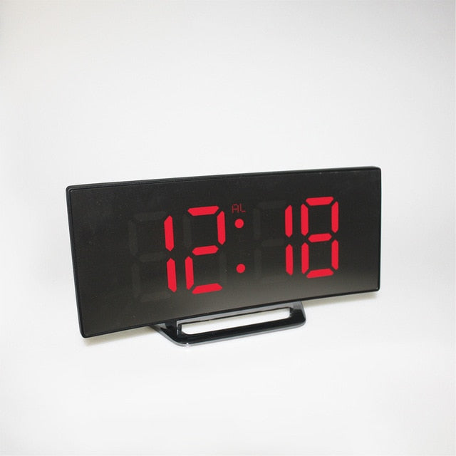 New Digital Mirror Clock LED Alarm Clock Night Lights Battery Use Temperature Snooze Function Desk Clocks Table Clock Home Decor