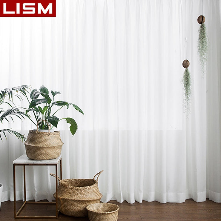LISM Chiffon White Sheer CurtainsTulle Curtain Window Treatment Finished Voile Drape Decoration