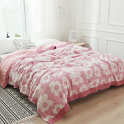5 Layers Muslin Cotton Throw Blanket for Beds Courtyard Travel Queen King Size Summer Air-conditioning Bed Sheet