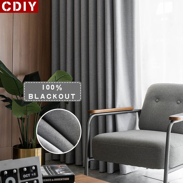 CDIY 100% Blackout Curtains for Bedroom Living Room Full Light Blocking Window Treatment Thick Modern Drapes Faux Linen Curtain