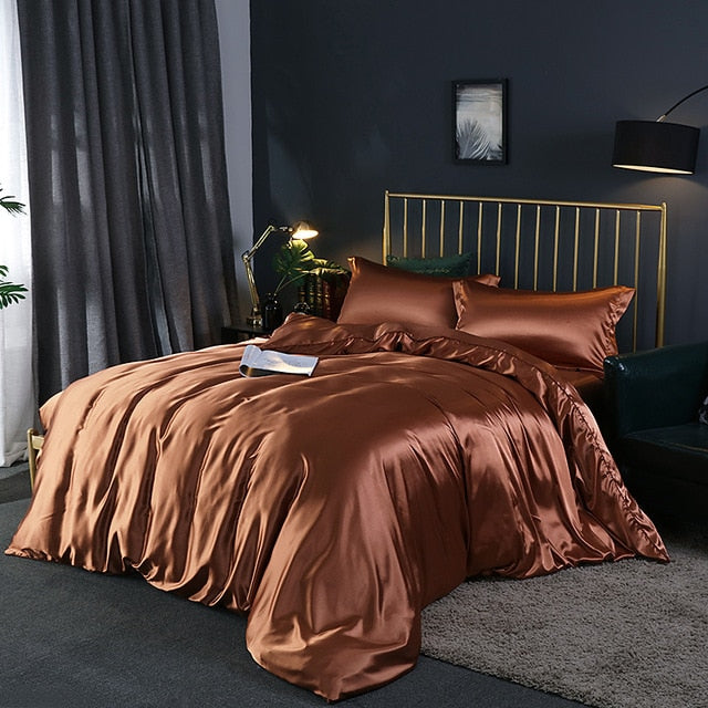 Upgraded 100% Satin Silk Bedding Set Luxury Quilt Duvet Cover and Pillowcase Bed Sheet Set Single Double Bedclothe Silky Bed Set