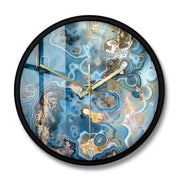 Onyx Crystals Structure Printed Wall Clock Marble Texture Artwork Quiet Movement Wall Watch Metaphysical Healing Wall Art Clock