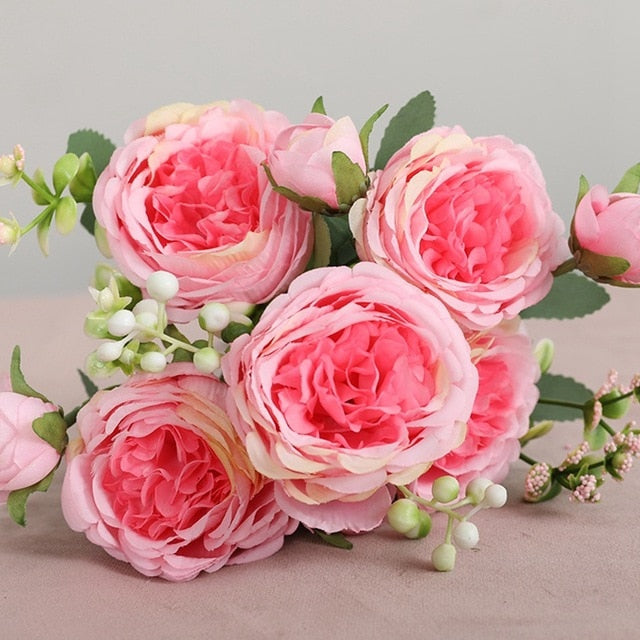 Artificial Silk Flowers Beautiful Rose Peony Small White Bouquet Vases for Home Party Winter Wedding Decoration Diy Flower wall