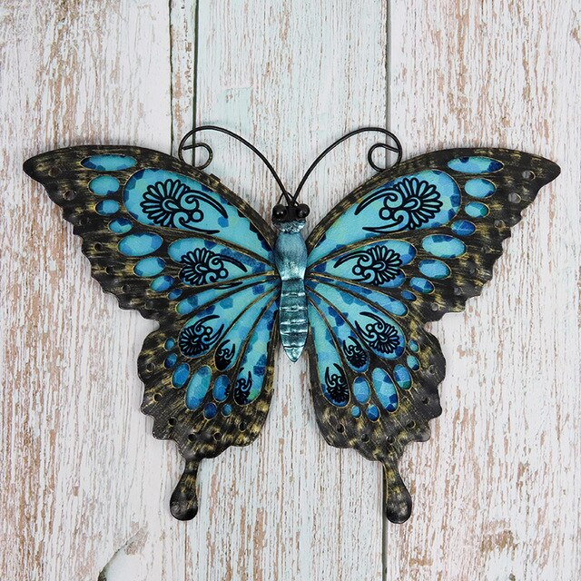 Garden Blue Butterfly of Wall Decoration for Home and Garden Outdoor Decoration Statues Miniatures Sculptures