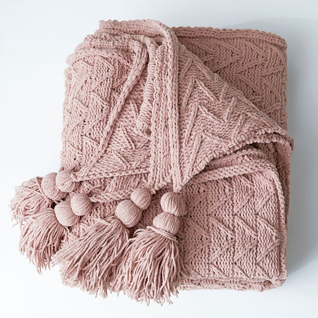 REGINA Super Soft Chenille Blanket Pure Color Pink White Gray Warm Sofa Throws Tassel Design Chunky Knit Throw Blanket For Bed