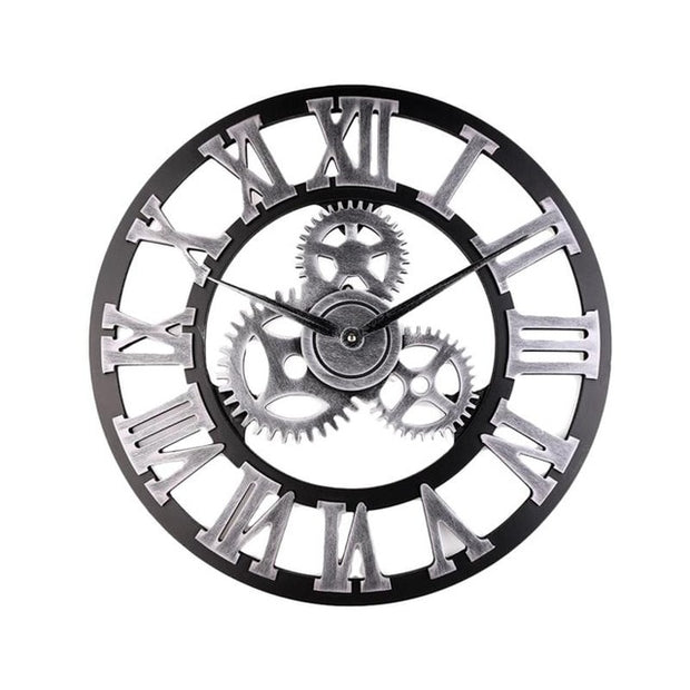 34cm/45cm Industrial Gear Design Wall Clock Decorative Wall Hanging Clock Industrial Style Wall Clock Without Battery