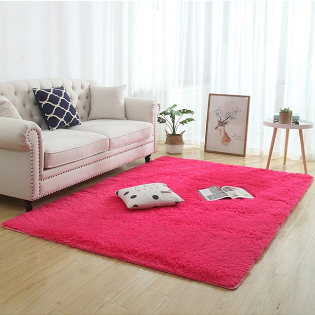 Silky fluffy carpet modern home decor long plush shaggy rug children's play mats sofa living bedroom bedside mat balcony carpets