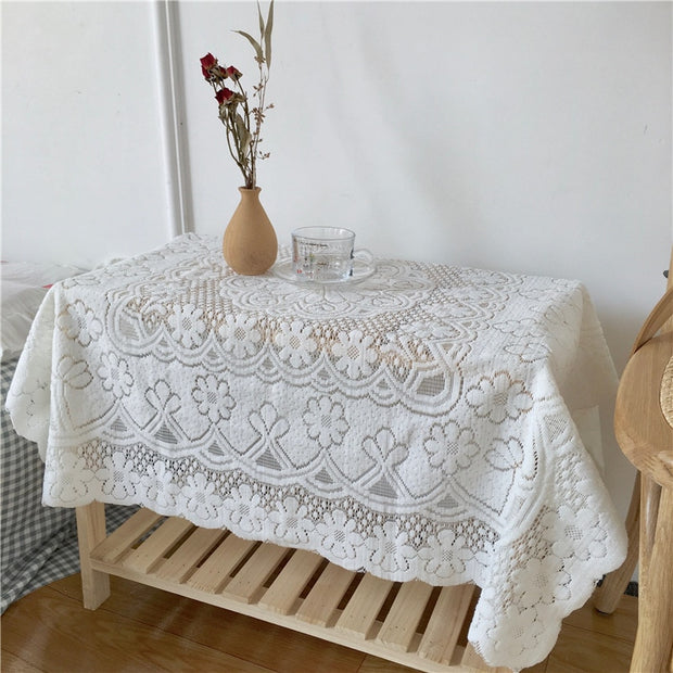 Simple lace tablecloth light beige cafe restaurant literary background cloth decorative cloth ins style tablecloth