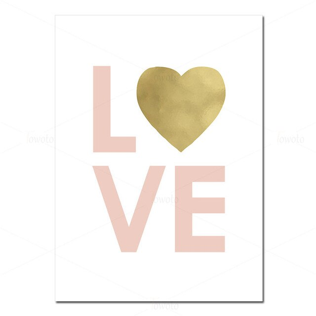 Baby Nursery Blush Pink Canvas Painting for Girl Bedroom Nordic Wall Art Poster Gold Heart Love Print Decoration Picture Decor
