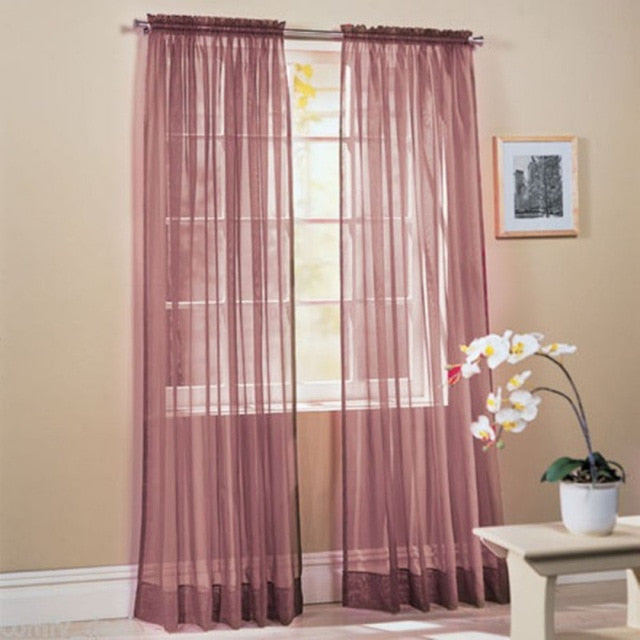 Solid Color Curtain Transparent Panel Curtains Elegant Durable Sturdy Window