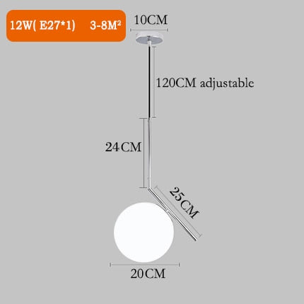 Nordic modern pendant light minimalist living room dining bar kitchen lamp bedroom glass ball pendant lamp small wall lamp