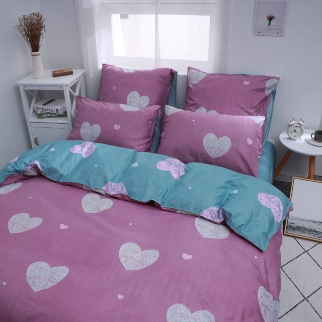 Alanna X series 3-4 Printed Solid bedding sets Home Bedding Set 4-7pcs High Quality Lovely Pattern with Star tree flower