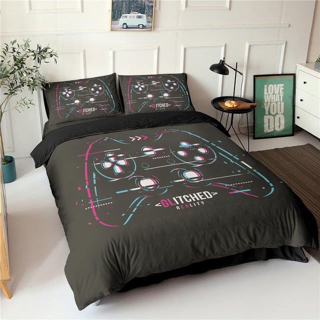 Gamepad Bedding Set Queen Size Duvet Cover Creative Black Comforter Bed Cover Set Housse De Couette Bedclothes