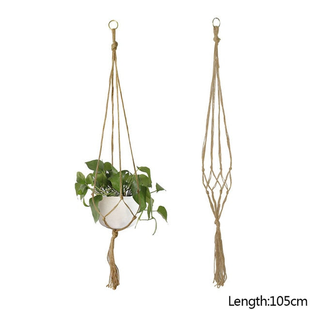 Plant Hanger Basket Hemp Rope Net Flower Pot Lanyard DIY Garden Handmade Macrame Potted Hanging Flowers Holder For Wall Decorate