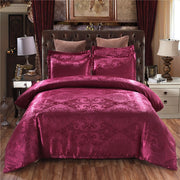 Luxury 2 or 3pcs Bedding Set Satin Jacquard Duvet Cover Sets with Zipper Closure 1 Quilt Cover + 1/2 Pillowcases US/EU/AU Size