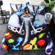 Moon Child Black by Pixie Cold Art Bedding Set White Fox Duvet Cover Galaxy Planet Bedclothes Animal Floral Home Textiles 3pcs