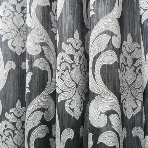 NAPEARL 1 PC  150x270CM Hot Sale Jacquard Luxury Semi-Blackout Panel Black Brown European Style Modern Floral Window Curtains