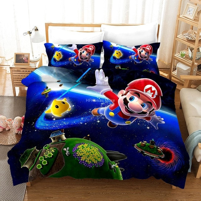 Home Textile 3d Mario Bro Children Bedding Sets Bed Linen Set King Queen Double Full Twin Single Double Bedclothes Free Shipping