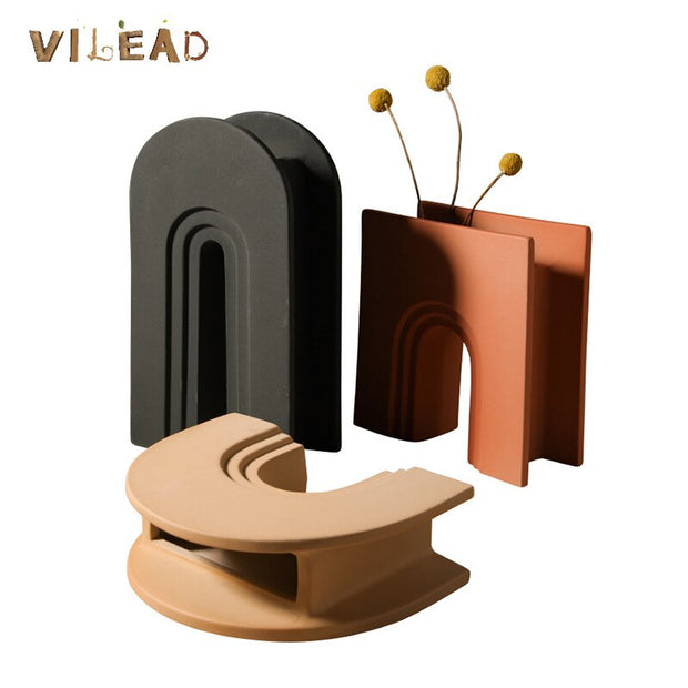 VILEAD Ceramic Geometric Flower Vases Figurines Nordic Arch for Pots Modern Table Art Living Room Decoration Christmas Gifts