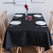 LOVRTRAVEL brand custom oversized 600cm black tablecloth hotel wedding party square dining table and coffee table cover