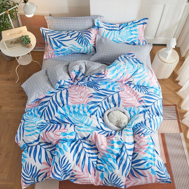 Tropical Plant Kid Bed Cover Set Duvet Cover Adult Child Bed Sheets And Pillowcases Comforter Bedding Set 2TJ-61006