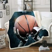Basketball  Blanket Sports Throw Blanket Basketball Court Sports Sherpa Fleece Blanket Black Soft Cozy Plush Blanket For Boys