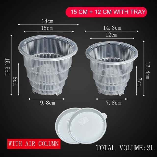 Meshpot 10cm/12cm /15 cm Clear Plastic Orchid Pots With Holes Air Pruning Function and Root Growth Slots Plastic Flower Pot