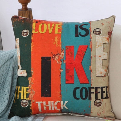 BZ004 Fashion Home Cushion Without Inner Letter Printed Polyester Decor Sofa Car Seat Decorative Throw Pillow Housse De Coussin