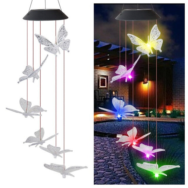 Solar Landscape Lights Outdoor  Waterproof  LED Multicolor Butterfly Wind Chime Bird Dragonfly Lawn Lamps Garden Yard Decor D30