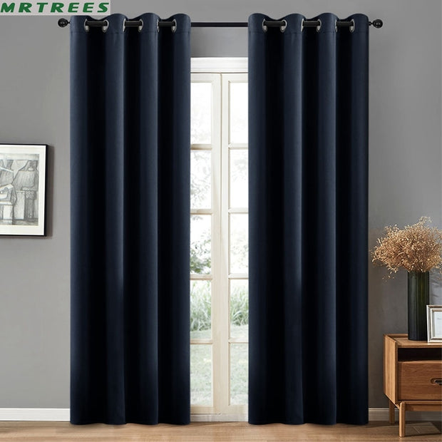 Blackout Curtains for Living Room Modern Kitchen Bedroom Blue Thick Curtains Drapes Panel Fabric On the Window Panel Curtains