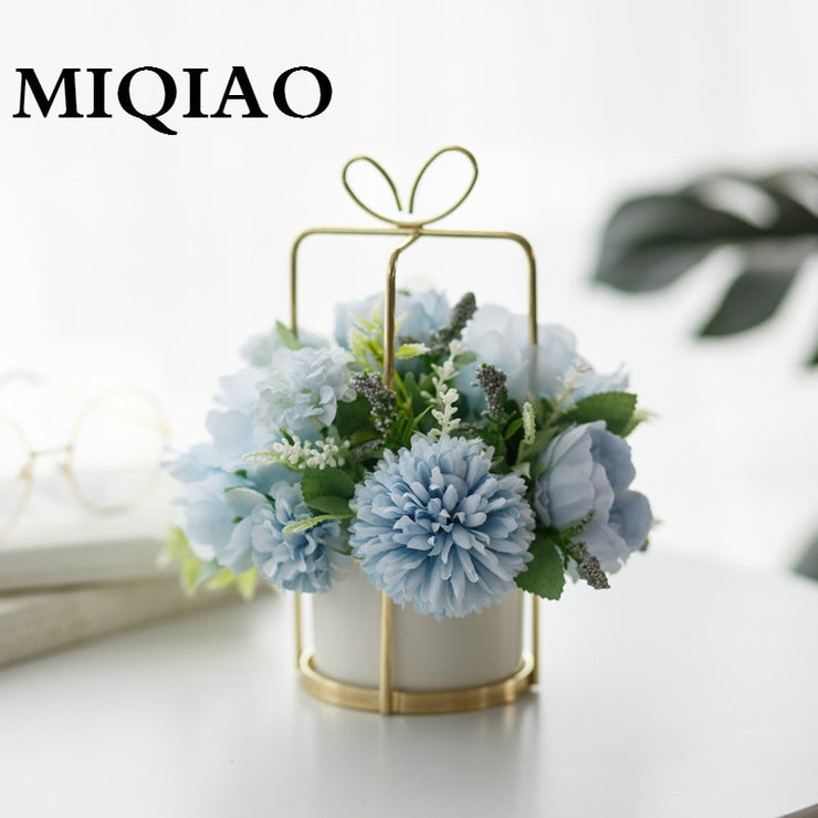 MIQIAO Hanging Flower Style Hybrid Hydrangea Pink Silk Peony Set Vase Indoor
