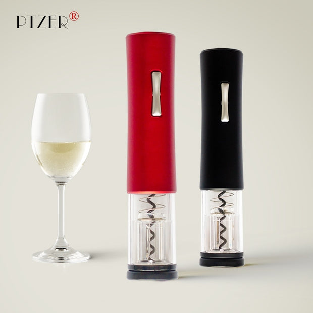 PTZER Electric Red Wine Opener With Foil Cutter Corkscrew Automatic Bottle Openers Set Kitchen Accessories Tools Gadgets LED