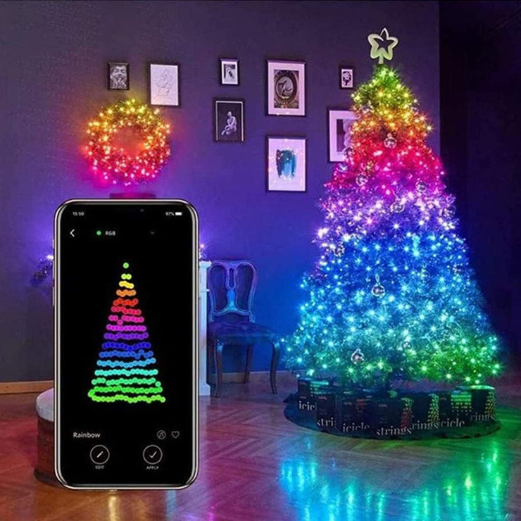 Christmas Tree Decor Light Bluetooth Light String Mobile Phone APP Copper Wire Light String Remote Control LED String Lights