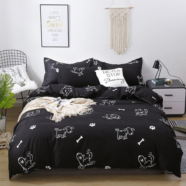 Black White Leopard Printed Bed Cover Set Kid Boy Duvet Cover Adult Child Bed Sheets And Pillowcases Comforter Bedding