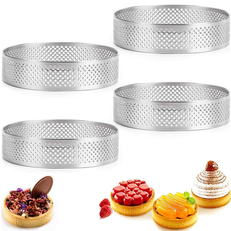 2/5/10pcs Circular Tart Ring French Dessert Stainless Steel Perforation Fruit Pie Quiche Cake Mousse Mold Kitchen Baking Mould