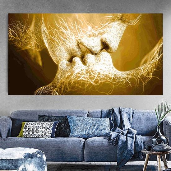 Black Love Kiss Canvas Painting Abstract Print Poster Pictures Home Bedroom Living Room Decoration Wall Art