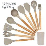 Best Silicone Cooking Utensil Set Wooden Handle Spatula Soup Spoon Brush Ladle Pasta Colander Non-stick Cookware Kitchen Tools