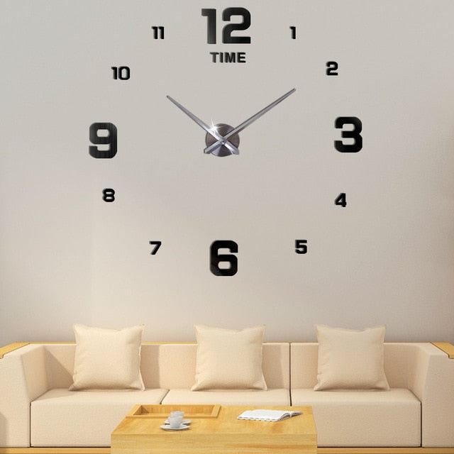 3D big wall clock modern design mute big digital clock acrylic mirror stickers oversized wall clock time letters home decoration