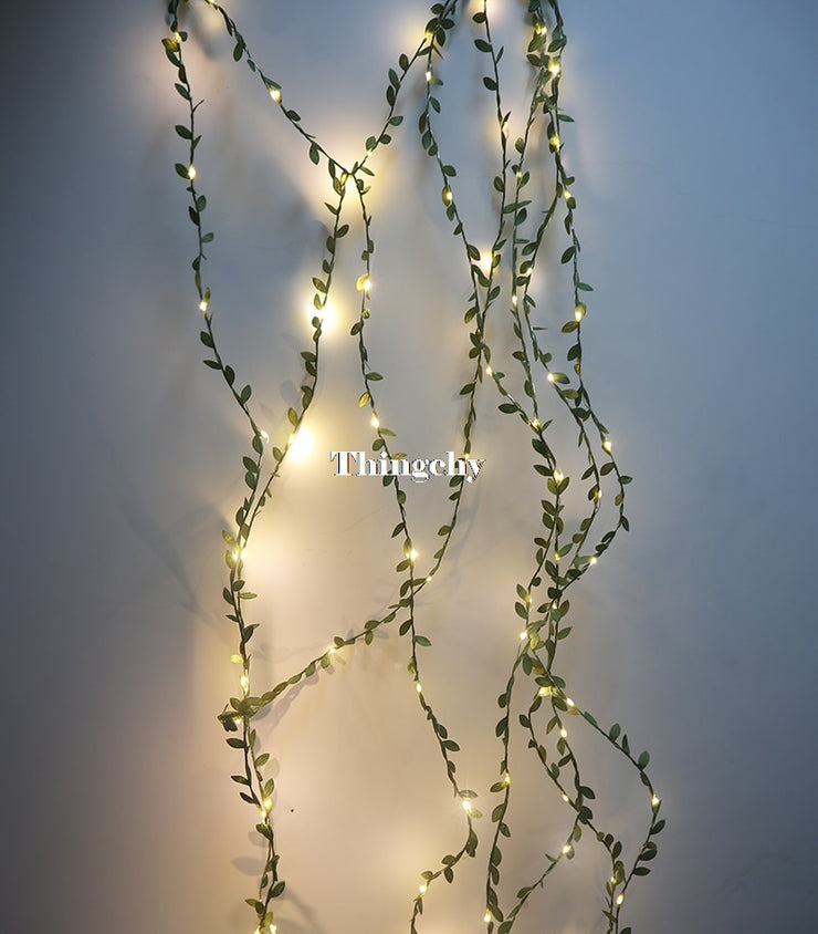 Tiny leaf garland fairy light decor LED Copper Wire string lights for Wedding forest Table Christmas home party Decoration